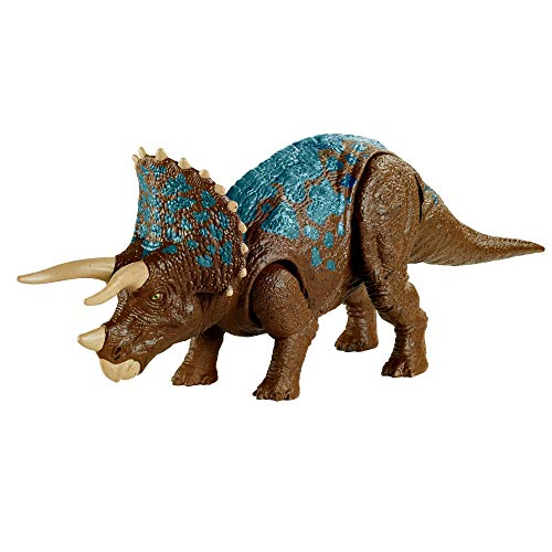 Jurassic World Triceratops Sound Strike Medium-Size Dinosaur Action Figure, Strike & Chomping Action, Realistic Sounds, Movable Joints, 4 Years Old & Up