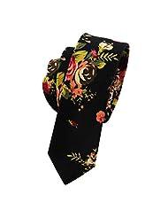Mantieqingway Men's Cotton Floral Skinny Necktie 002