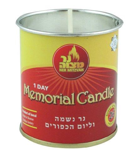 Metal Sabbath Candlesticks - Yizkor Yahrzeit Memorial Candle 1 Day