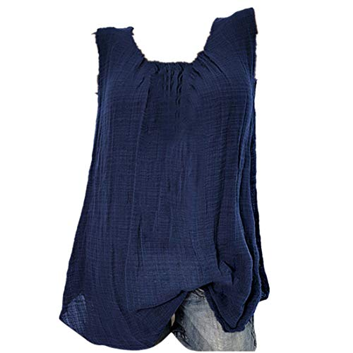 YFancy Womens Comfy Cotton Linen Sleeveless Baggy Solid Color Sports T-Shirt Vest Tee Blouse Tank Tops Plus Size Blouse Blue ()
