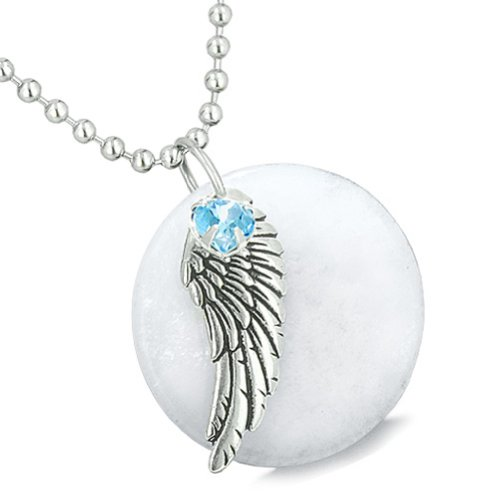 Angel Wing White Snowflake Quartz Medallion Sky Blue Crystals Heart Feather 18 Inch Pendant Necklace