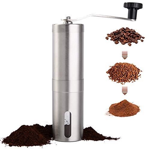 PARACITY Manual Coffee Bean Grinder Stainless Steel Hand Coffee Mill Ceramic Burr for Aeropress, Drip Coffee, Espresso…