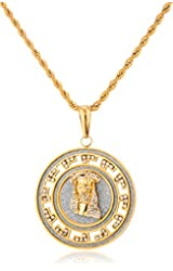 Stainless Steel Iced Out Large Round Sandblast Jesus Face Pendant with a 24 Inch Rope Necklace (Goldtone or Silvertone)