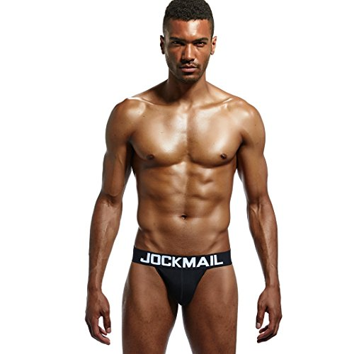 Jockmail 4pcs/Pack(4color Brand Men Underwear Briefs Sexy Gay Open Back Calzoncillos Gay Underwear Male Panties (XL) by Jockmail