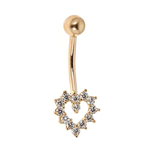 Ritastephens 14k Real Yellow Gold Cubic Zirconia Open Heart Belly Button Navel Ring Body -