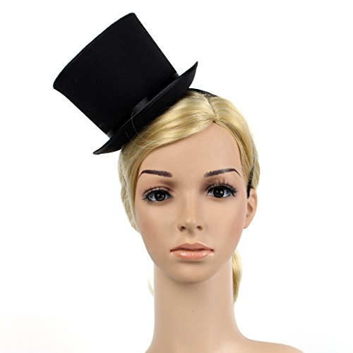 YSJOY Unisex Solid Color Satin Belt Kentucky Mini Top Hat Feather Fascinator Tea Party Derby Hat Victorian Decorative Cosplay Top Hat DIY Costume Accessory Black]()