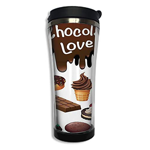 (Customizable Travel Photo Mug with Lid - 14.2OZ(420 ml) Stainless Steel Travel Tumbler, Makes a Great Gift by,Kitchen Decor,Chocolate Lover Sweets Cake Decorations Pattern Icecream Retro Style Design)