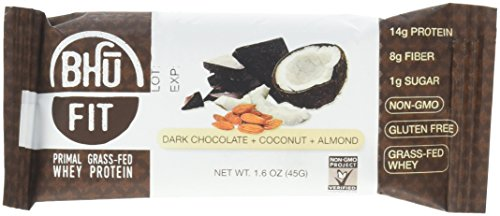 BHU Foods Fit Primal Protein Bar, Dark Chocolate Coconut Almond, 12 Count