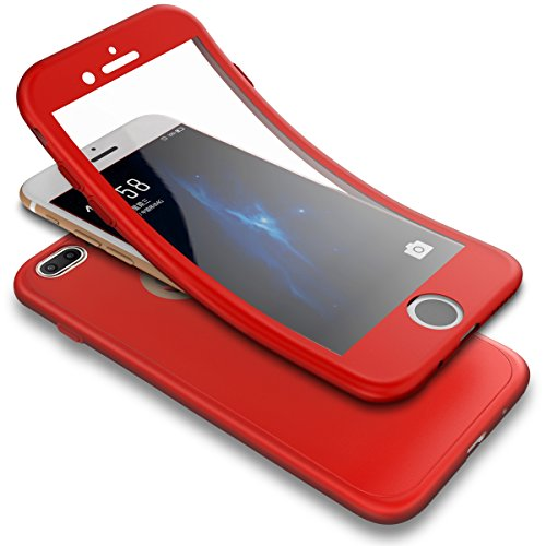 Case,iPhone 8 Plus Case, 3 in 1 Shockproof Full Body Coverage Protection Soft TPU Silicone Rubber Case with Tempered Glass Screen Protector for iPhone 7 Plus/8 Plus, Red ()