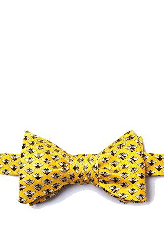 Men's Yellow Bees Bee on Yellow Background Freestyle Self Tie Bowtie Bow Tie Neckwear Alynn Novelty Yellow Silk Ties