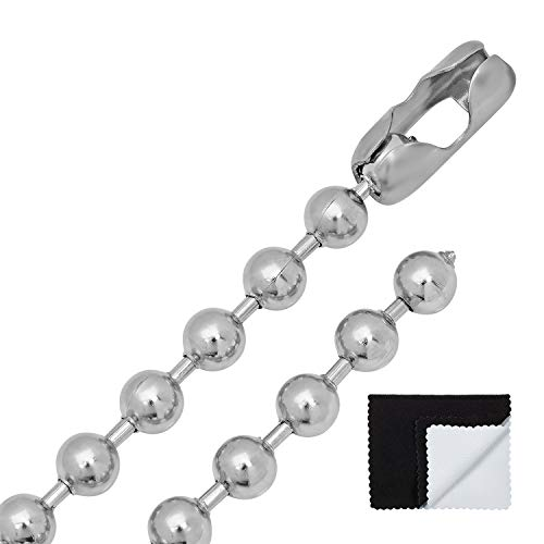 9mm Ball Chain - The Bling Factory Men's 8mm Durable Stainless Steel Pelline Style Ball Chain Necklace, 30