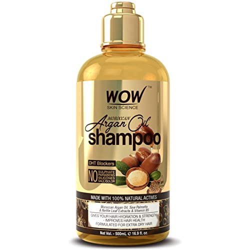 WOW Moroccan Argan Oil Shampoo With DHT Blockers - Boost Fast Hair Growth, Reduce Frizz, Hair Loss - Clean Scalp, Stronger Hair - For Soft & Smooth Hair - Silicone, Paraben, Sulfate Free - 500 mL (Best Affordable Hair Products)