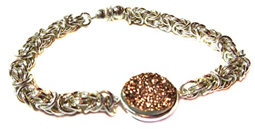 Weave Byzantine Bracelet - Druzy Agate Gemstone Bracelet Exquisite Ancient Byzantine Weave With Rose Gold Colored Large 15mm Druzy Link .925 Sterling Silver Elegant Sparkle Toggle Clasp