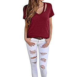Sumeimiya Women S Solid Tops Ladies Short Sleeve O Neck Blouse Shirt Pullover Tops Loose Casual Plain Blouse Wine