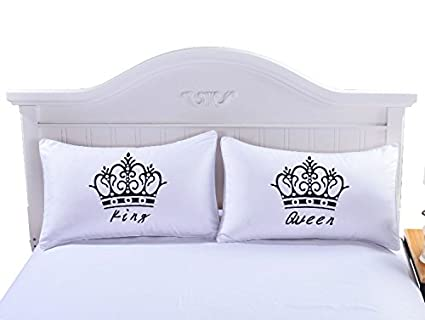 Amazon Sleepwish One Pair Royal Crown Decorative Pillow Covers Enchanting King And Queen Decorative Pillows