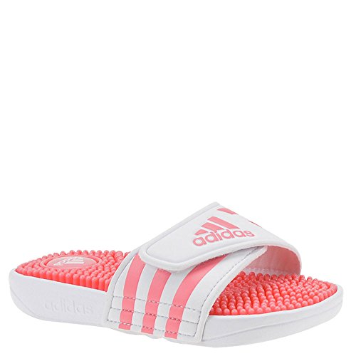 adidas Performance Girls' Adissage K, White/chalk Pink/White, 5 M US Big Kid