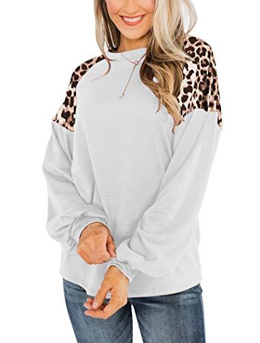 Uincloset Women's Leopard Print Patchwork Raglan Long Sleeve Crew Neck Shirts Casual Loose Pullover Tops