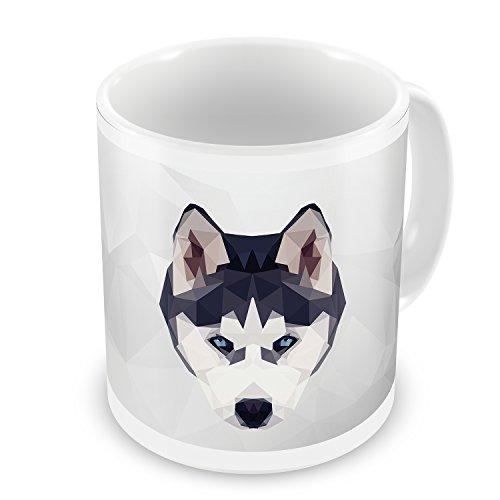 Coffee Mug Low Poly zoo Animals Siberian Husky Dog - NEONBLOND