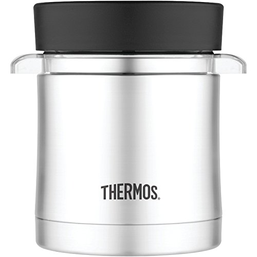 Thermos 12 Ounce Food Jar with Microwavable Container, Stainless Steel (Renewed) ()