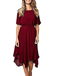 Ancapelion Women's Chiffon Short Sleeve Casual Midi Summer Dress with Irregular Hem