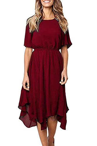 Alaster Queen Women's Casual Chiffon Asymmetrical Hem Short Sleeve RoundNeckSwingPleated Red - Dress Neck Pleated