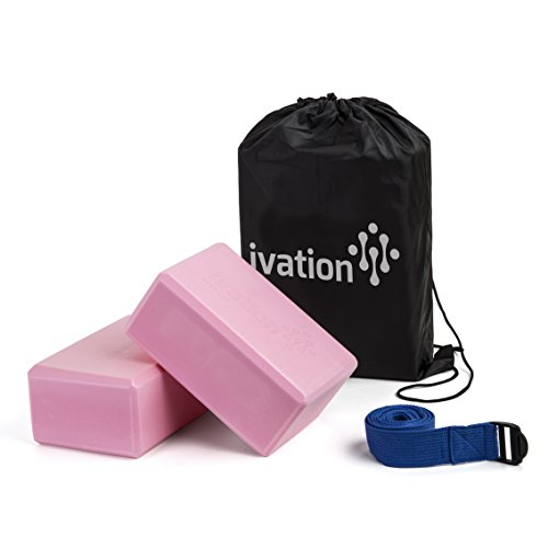 Ivation Large Yoga Blocks & 8-Foot Yoga Strap Combo Pack - Safe, Durable Yoga Props Perfect for all Yoga Practices & Home Workouts - Starter Guide & Carrying Case Included