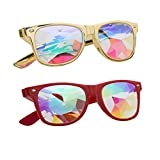 Kaleidoscope Glasses - Rainbow Rave Prism Diffraction Crystal Lens Sunglasses Goggles (One Size, Red+Yellow)