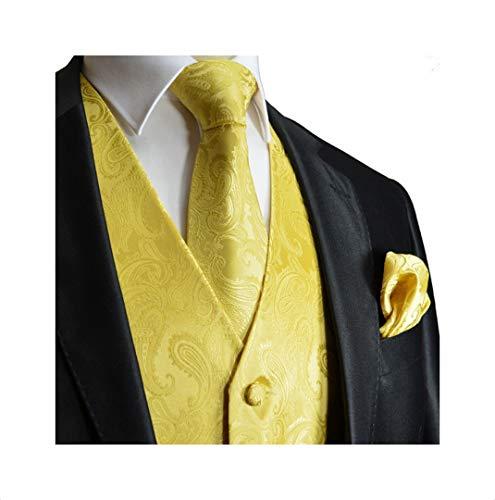 (Men's 3pc Paisley Design Dress Vest Tie Handkerchief Set For Suit or Tuxedo (4XL (Chest 56), Gold))