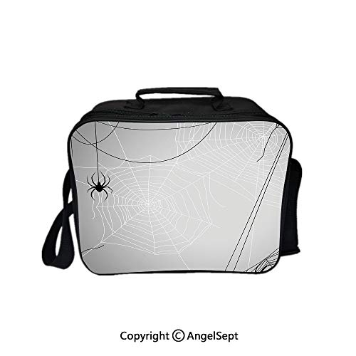 Hot Sale Lunch Container,Spiders Hanging from Webs Halloween Inspired Design Dangerous Cartoon Icon Decorative Grey Black White 8.3inch,Lunch Bag Large Cooler Tote Bag For Men, Women ()
