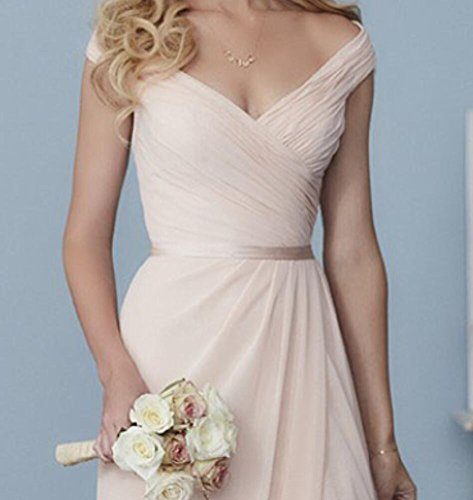 Dress Long with Chiffon Neck V Mauve Slit Cute Bridesmaid Dresses Dusty Wedding Formal vOqXw0