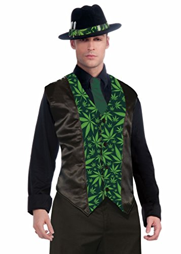 Forum Novelties Men's Cannabis Costume Vest, Green, Standard -