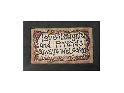 Craft Outlet Love, Laughter, Friends Wooden Burlap Plaque, 8 by 0.5 by 12-Inch ()