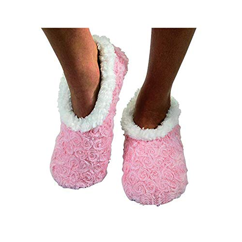 Fur Super Chaussons Rose Tissu like Femmes Soft Snoozies Texturé wX65xOF6q