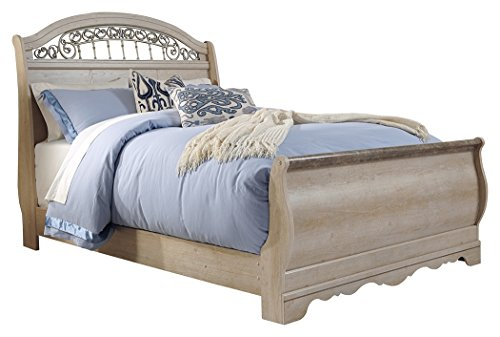 Ashley Full Sleigh Bed - Ashley Furniture Signature Design - Catalina Master Bedroom Set - Traditional Queen Sleigh Bedset - Antique White