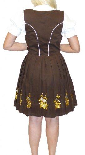 Dirndl Trachten Haus 3-Piece Short German Wear Party Oktoberfest Waitress Dress 16 46 Brown by Dirndl Trachten Haus (Image #2)