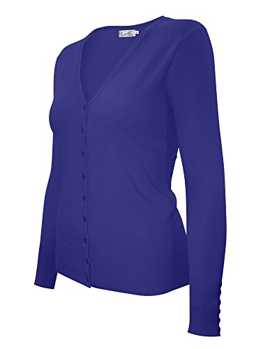 V-neck Detail Cardigan (Cielo Women's Solid Basic Stretch Soft V-neck Knit Cardigan Royal Blue XL)