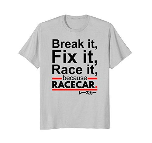 Mens Because Race Car Shirt Auto Racing XL Silver