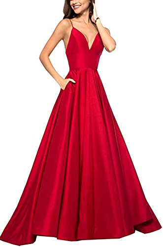 (Womens Spaghetti Strap V Neck Prom Dresses Long 2019 A-line Satin Formal Evening Ball Gowns with Pockets Red)