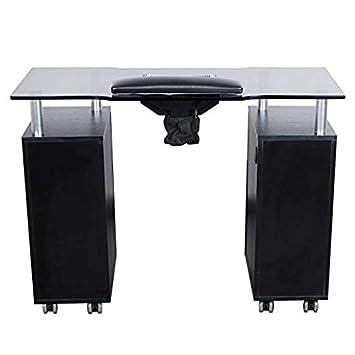 Amazon.com: Glow Salon de vidrio (Negro) mesa de manicura ...