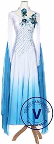 4fed2ba70 Blue Gradational Ballroom Competition Standard Waltz Smooth Foxtrot Women  Dance Dress