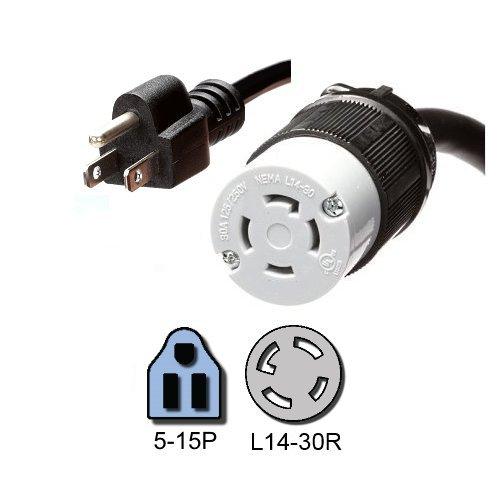 NEMA 5-15P to L14-30R Plug Adapter, 1 Foot, 15A/125V, 14
