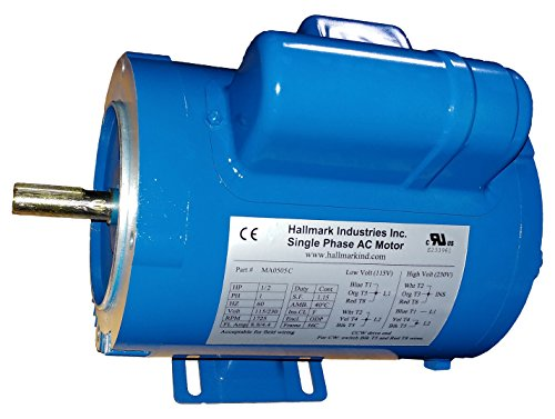 Hallmark Industries MA0505C AC Motor, 1/2 hp, 1725 RPM, 1PH/60 hz, 115/208-230V AC, 56C/ODP, Cap Start, with Foot, SF 1.15, Steel (Pack of 1) (1ph Ac Motor)