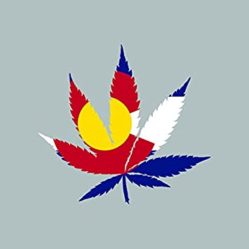 Colorado flag weed marijuana leaf sticker self adhesive 420 hemp fa vinyl