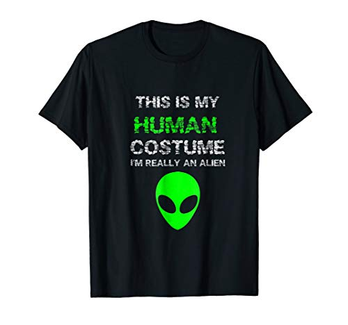 Budget Alien Halloween Costume I'm Really An Alien T-Shirt]()
