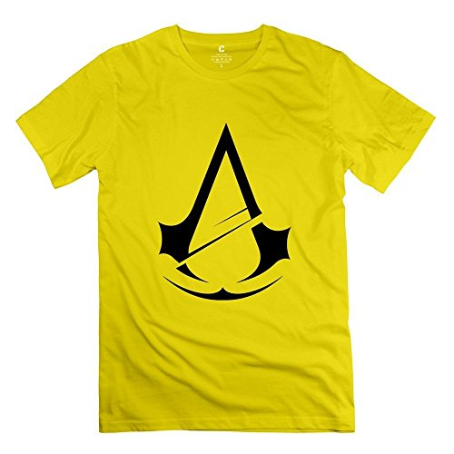 Assassin's Creed Unity Logo 01 O-Neck T Shirts For Men Yellow S Modern T Shirts