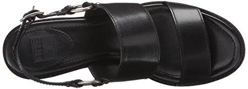 Frye Sandalias de Brielle arnés vestido de la mujer Black Smooth Polished Veg Leather