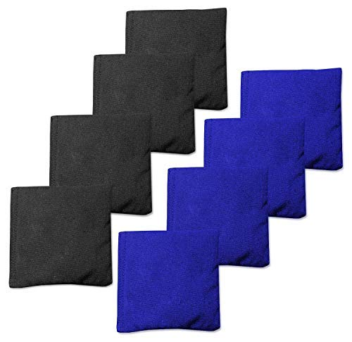 Real Corn Filled Cornhole Bags - Set of 8 Bean Bags for Corn Hole Game - Regulation Size & Weight -Blue and Black