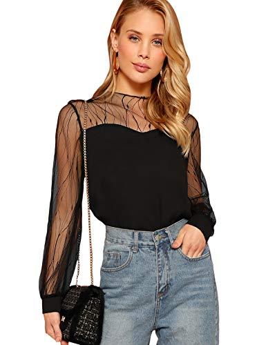 - Romwe Women's Elegant Mesh Long Sleeve Sweetheart Neck Casual Chiffon Blouse Top Black Medium