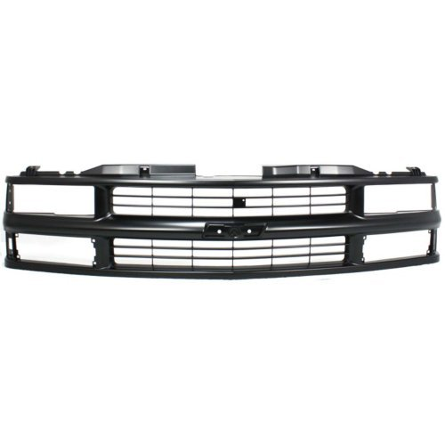 Grille Assembly Compatible with CHEVROLET C/K FULL SIZE P/U 1994-2000/SUBURBAN 1994-1999 Cross Bar Insert Painted-Blk with Dual/Composite Headlight with Sport Package ()