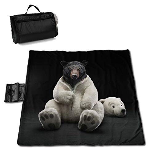 Bear Funny Headgear Headpiece Outdoor & Picnic Blanket Extra Large Sand Proof and Waterproof Portable Beach Mat for Camping Hiking Festivals 57